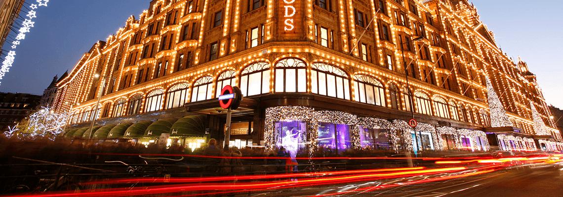 Harrods, London. at Christmas
